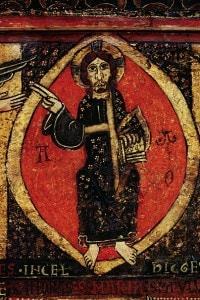 Dettaglio di Gesù Cristo da un altare catalano frontale raffigurante l'Ascensione di Cristo