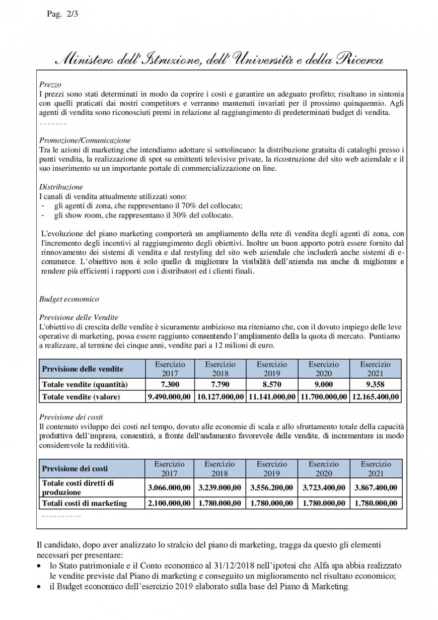 Simulazioni seconda prova 2019, istituto tecnico Amministrazione, Finanza e Marketing