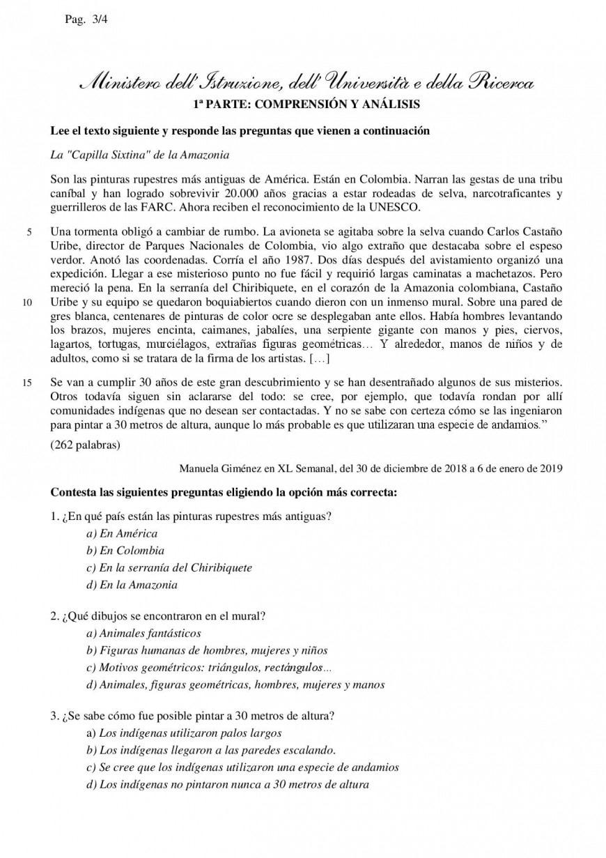 Traccia simulazione 28 febbraio 2019 liceo linguistico Inglese e Spagnolo