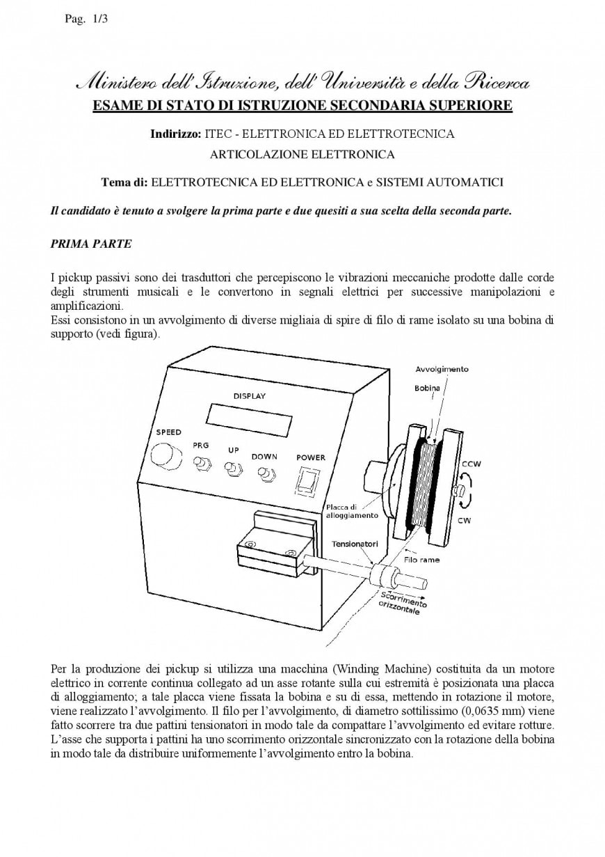 Simulazione seconda prova Istituto Tecnico Elettronica ed Elettrotecnica 2019: elettronica