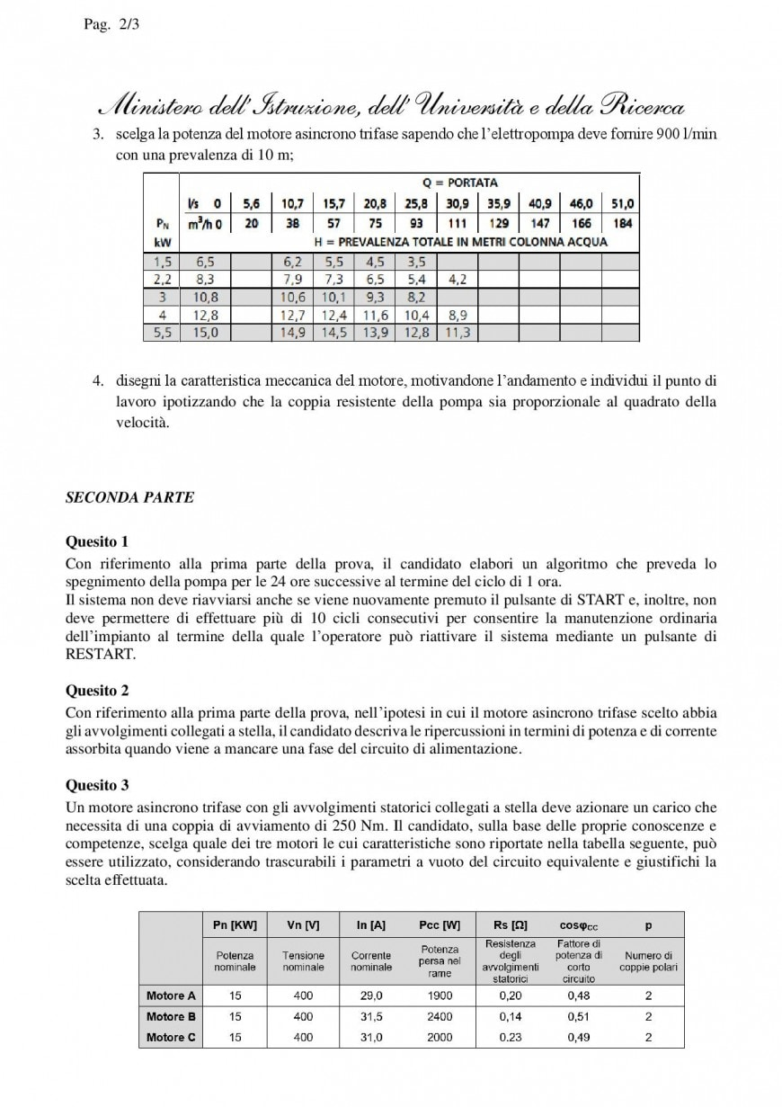 Simulazione seconda prova Istituto Tecnico Elettronica ed Elettrotecnica 2019: elettrotecnica