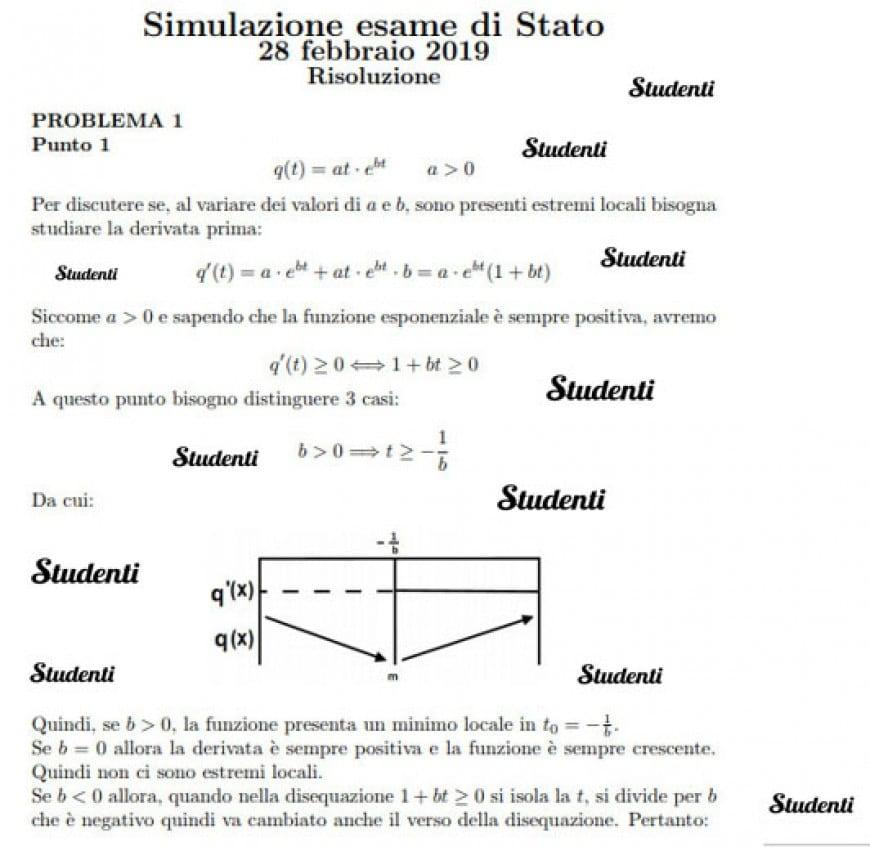 Simulazione esame di Stato 28 febbraio 2019 Risoluzione: Problema 1 - punto 1