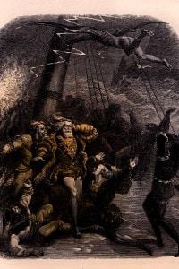 La tempesta di Shakespeare: il naufragio della nave. Illustrazione di Gustave Doré
