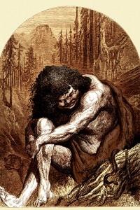 Calibano de La Tempesta di Shakespeare. Illustrazione di Gustave Dorè