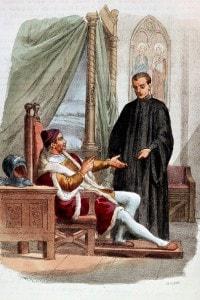 Niccolò Machiavelli con Pandolfo Petrucci sovrano della città italiana di Siena durante il Rinascimento di Alessandro Focosi