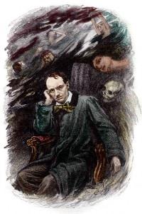 Charles Baudelaire circondato dai fantasmi. Illustrazione, per I fiori del male, di Georges Rochegrosse