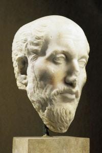 Busto di Plotino, filosofo greco. Scultura romana in marmo