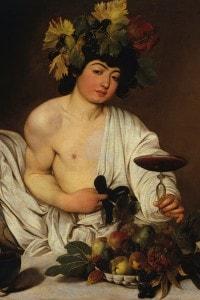 Bacco di Caravaggio, 1589. Dio greco del vino e dell'ebrezza