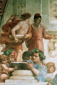 La Scuola di Atene di Raffaello Sanzio. Particolare di Epicuro