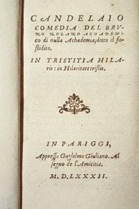Frontespizio del Candelaio (1582) di Giordano Bruno