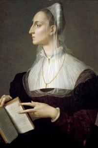 Laura Battiferri: ritratto della poetessa italiana mentre legge i sonetti di Petrarca. Dipinto di Bronzino, artista del Manierismo fiorentino