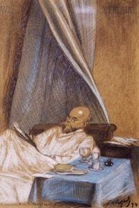 Ritratto di Paul Verlaine nella sua casa, Rue de Vaugirard a Parigi nel 1894