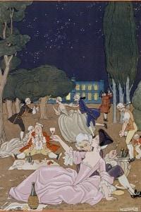 """Sul prato di Georges Barbier: illustrazione pubblicata in """"Feste galanti"""" di Paul Verlaine nel 1928"""