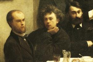 """Verlaine, Rimbaud e Bonnier: particolare del dipinto """"Le Coin de table"""" di Henri Fantin-Latour"""