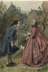 Rousseau incontra Madame de Warens, 1732. Incisione di Leloir
