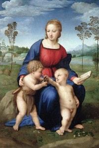 Madonna del Cardellino di Raffaello. Olio su tavola 107×77 cm. Galleria degli Uffizi