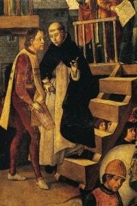 Particolare di San Domenico di Guzmán che presiede a un autodafé. Opera di Pedro Berruguete
