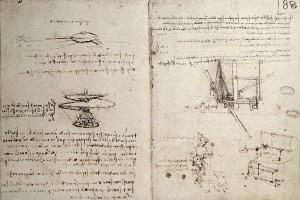 Macchine volanti disegnate da Leonardo nel 1487