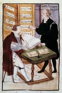 Il finanziere tedesco Jacob Fugger con il suo commercialista Matthaus Schwarz