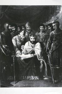 Re Giovanni d'Inghilterra (1157-1216) mentre firma la Magna Charta Libertatum