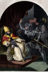Lo schiaffo di Anagni: Sciarra Colonna che schiaffeggia Papa Bonifacio VIII, 1303