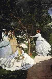 Donne in giardino. Olio su tela di Claude Monet