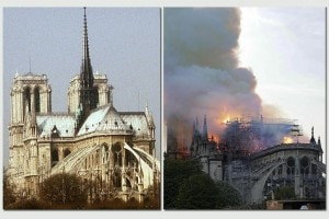 Notre Dame prima e dopo l'incendio