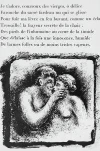 """Illustrazione per il """"Pomeriggio di un fauno"""" di Stéphane Mallarmé. Litografia di René Demeurisse"""