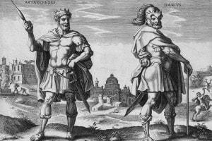 Sulla sinistra Artaserse I (Re di Persia dal 464 al 425 a.C.), e a destra suo figlio Dario II