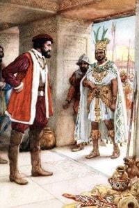 Hernán Cortés incontra l'imperatore azteco Montezuma, 1519