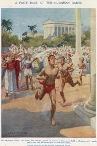 Una corsa ai giochi olimpici nell'antica Grecia