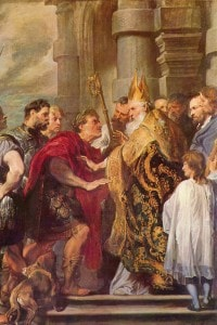 Imperatore Teodosio e Sant'Ambrogio: dipinto di Van Dyck