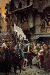 L'arrivo di Giovanna d'Arco (1412-1431) ad Orléans, 1429. Dipinto di Scherrer
