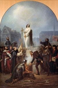 Il martirio di Giovanna d'Arco, 30 maggio 1431. Dipinto di Legrip