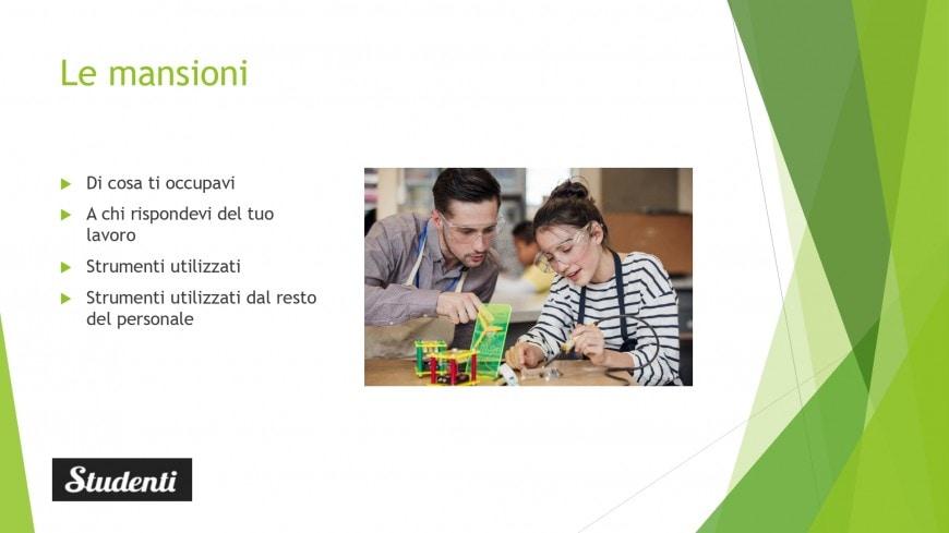 Relazione alternanza scuola lavoro in Power Point: schema ed esempio