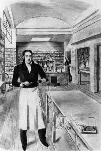 Nell'immagine: Michael Faraday (1837) esegue un esperimento con la corrente elettrica