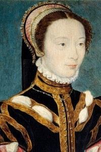 Ritratto di Jeanne d'Halluin, dama della regina di Francia Caterina de' Medici. Olio su legno di Corneille de Lyon