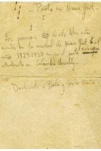 """Una pagina del manoscritto """"Poeta a New York"""" di Federico Garcia Lorca"""