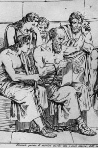 Socrate insegna le sue dottrine ai giovani ateniesi in attesa della sua esecuzione
