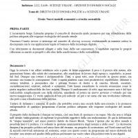 Traccia Scienze umane - opzione economico-sociale seconda prova Maturità 2019