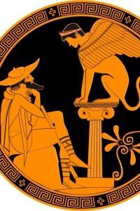 """Edipo e la Sfinge in una """"Kylix"""" attica del IV secolo prima dell'era cristiana"""