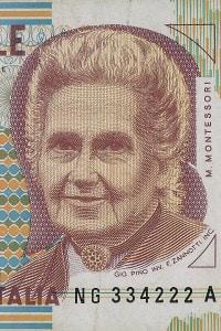 Banconota della Lira Italiana da 1000 Mille Lire raffigurante Maria Montessori
