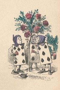 I giardinieri, a forma di carte da gioco, che dipingono i cespugli di rose. Illustrazione di John Tenniel