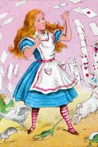 """Alice nel Paese delle Meraviglie. Illustrazione per il capitolo """"Chi ha rubato le crostate"""""""