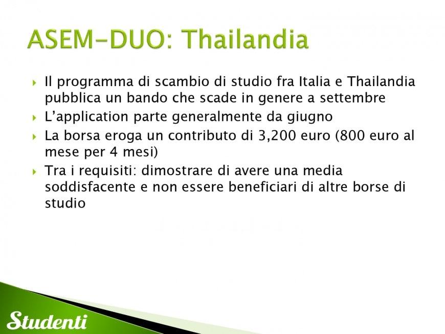 Borse di studio per la Thailandia