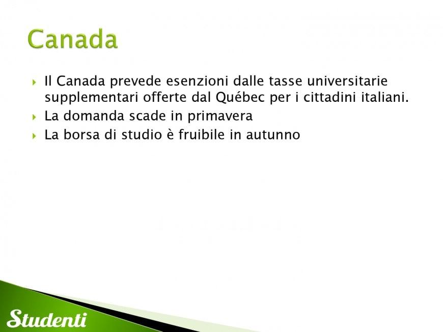 Borse di studio per il Canada