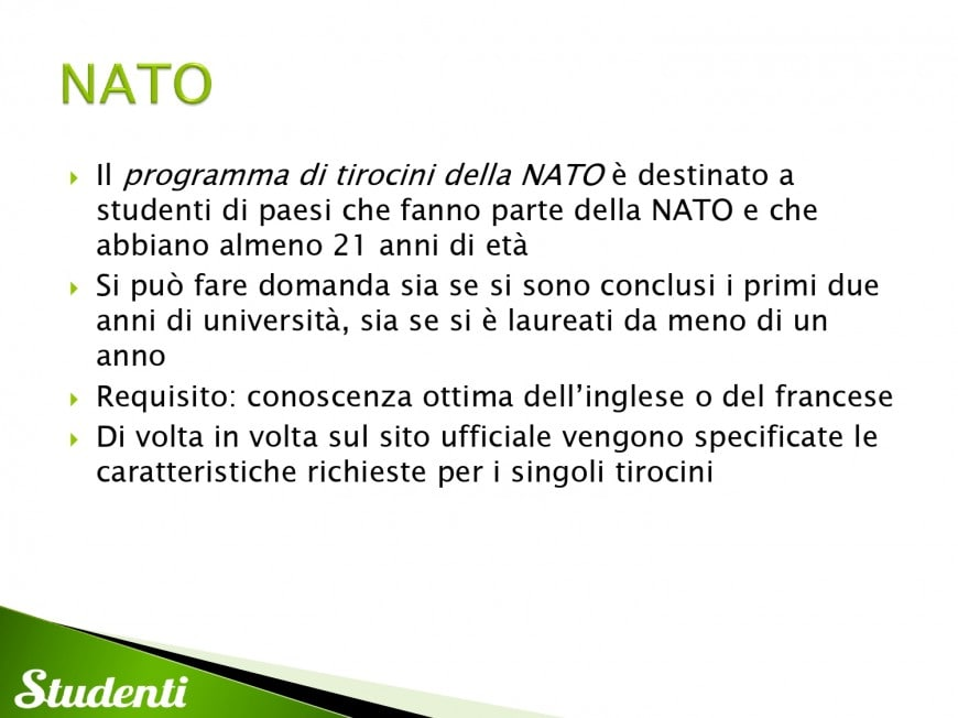 Borse per tirocini presso la NATO