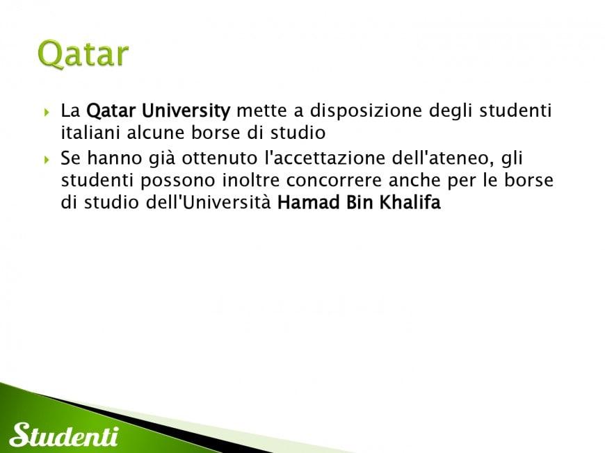 Borse di studio per il Qatar
