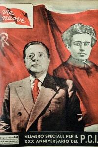 Vie Nuove: copertina del settimanale del PCI. Nell'immagine allegorica, Palmiro Togliatti e Antonio Gramsci