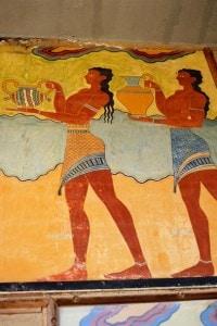 Affresco minoico sul muro del Palazzo di Cnosso